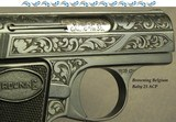 """BROWNING BELGIUM 25 ACP """"BABY"""" THAT TOTALLY APPEARS to be FACTORY ENGRAVED- MADE in 1966- 70% ENGRAVING"""