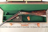 """ARRIETA 12 SIDELOCK- MOD 871- 1997- 28"""" EJECT CHOPPER LUMP Bbls.- LIKE BUYING IT NEW- ORIG. & 99% OVERALL COND.- NICE WOOD- 85% ENGRAVING- CASED - 1 of 8"""
