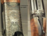 """CHAPUIS 450/400 3"""" N. E.- NEW- MODEL BROUSSE- VERY NICE WOOD- 95% FLORAL ENGRAVING & GAME SCENE- REMOVABLE BLOCKS in RIB for SCOPE MOUNTS or RED - 3 of 5"""