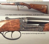 """CHAPUIS 450/400 3"""" N. E.- NEW- MODEL BROUSSE- VERY NICE WOOD- 95% FLORAL ENGRAVING & GAME SCENE- REMOVABLE BLOCKS in RIB for SCOPE MOUNTS or RED"""