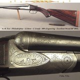 """A. H. FOX- PHILADELPHIA- 12 """"C"""" GRADE- 1911- EXC. WOOD with GREAT BLACK/BROWN CONTRAST- 80% ORIG. Bbl. BLUE- BORES & CHAMBERS are EXC.-SOLID"""