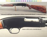 """WINCHESTER 410 MOD 42 UPGRADE to DELUXE GRADE by BOB HUNTER- EXC. CHECKERED WOOD- 26"""" FACTORY SOLID RIB Bbl.- MADE 1953- ORIG. 3""""- FACTORY M"""