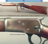 """WINCHESTER 1892- 32 W.C.F. CARBINE- 1927- THE BORE is EXC.- ORIG. from BUTT to MUZZLE- 20"""" ROUND Bbl.- CORRECT REAR & FRONT SIGHTS- SOLID CARBINE"""