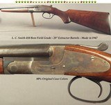 """L. C. SMITH 410 FIELD GRADE- TOTALLY ORIG. COND. with the WOOD OILED ONLY- 1947- 28"""" EXTRACT Bbls.- SINGLE SELECTIVE TRIGGER-80% ORIG. CASE COLOR"""