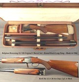 BROWNING BELGIUM 12/20 TWO Bbl. SET- 1966 GRADE I- RKLT- TOTALLY ORIG PIECE at 96% OVERALL- BOTH IC & M- BORES as NEW- FACTORY CASE
