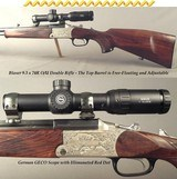 BLASER 9.3 x 74R O/U DOUBLE RIFLE- ADJUSTABLE FREE-FLOATING TOP Bbl.- MADE 1988- K95 SYSTEM w/ MOVING BREECH BLOCK- GERMAN GECO 1 x 6 SCOPE- RED DOT