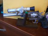 RARE SMITH WESSON M 629-1 8 3/8 NICKLE .44 MAG W/FACTORY SCOPE CUT & MOUNTS & ULTRA DOT SCOPE - 1 of 6
