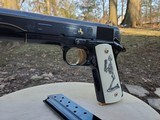 Custom Hand Engraved Colt 1911 38 Super Day Of The Dead Theme Mexican Gold and Platinum inlays Scrimshawed Custom Grips WOW