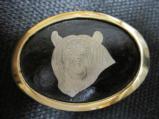 Engraved Bear Head Silver/Brass Belt Buckle - 1 of 1