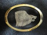 Engraved Boar's Head Silver/Brass Belt Buckle