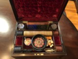 Antique traveler's casino case with roulette, poker, with engraved Whitneyville Armory .22