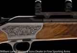 BLASER R8 Luxus, Left Hand, 3 barrel set, 9.3x62, 6.5x55, 7mm-08, Fancy Turkish walnut, Game scene engraving, ABS case