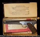 "COLT Woodsman 1st Model Target 6.5"" Blue, Patridge sight, Hi Speed, Original box papers and test target, Mfg 1931 AS NEW - 1 of 9"