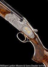 """BERETTA SO6 EELL 12ga 28"""" M&F, Exhibition wood, Fabulous engraving featuring relief ornimental and game scene cameos with birds in gold, leather - 9 of 9"""