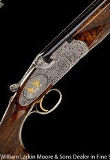 "BERETTA SO6 EELL 12ga 28"" M&F, Exhibition wood, Fabulous engraving featuring relief ornimental and game scene cameos with birds in gold, leather"