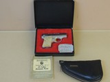 SALE PENDING----------------------------------------------BROWNING NICKEL LIGHTWEIGHT BABY .25 ACP PISTOL IN BOX & POUCH (INVENTORY#10137)