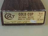 SALE PENDING-------------------------------------COLT GOLD CUP NATIONAL MATCH SERIES 70 .45ACP PISTOL IN BOX (INVENTORY#10160) - 8 of 8