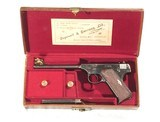COLT PRE-WOODSMAN PISTOL, COGSWELL & HARRISON RETAILERS LEATHER CASE