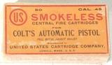 "U.S. CARTRIDGE CO. .45 CALIBER"" COLT'S AUTOMATIC PISTOL""50 COUNT"