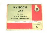 "BOX OF KYNOCH.450- 3 1/4"" BLACK POWDER EXPRESS CARTRIDGES { SEALED } - 1 of 3"