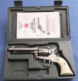"""S O L D - - - RUGER Vaquero - .357 Magnum - Stainless - 5-1/2"""" - Simulated Ivory Grips - As New in Original Box"""