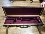 "Vintage oak and leather gun case 30"" barrels"