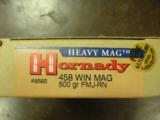 HORNADY HEAVY MAGNUM 458 WINCHESTER MAGNUM AMMUNITION 5 BOXES