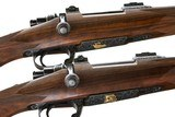 JERRY FISHER TED BLACKBURN FRANZ MARKTL PAIR OF CUSTOM MAUSERS MANNLICHER CARBINES 250-3000 & 358 WINCHESTER