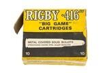 1 Box Vintage Rigby 416 Rigby Ammo