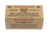 Winchester .22 Long Rifle H.P. Staynless Kepperklad, 500 Cartridges