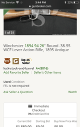 Antique 1894 Winchester 38-55 - 10 of 11