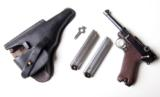 1920 DWM POLICE GERMAN LUGER RIG W/ 2 MATCHING # MAGAZINES - 1 of 10