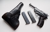 WALTHER NAZI P38 AC40 (SURCHARGE MODEL) RIG WITH 2 MATCHING # MAGAZINES