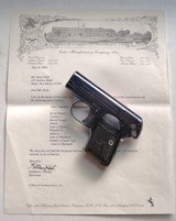 COLT MODEL 1908 SEMI AUTOMATIC - EARLY HIGH POLISH WITH ARCHIVE LETTER