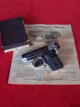 Colt nickel .25 Vest Pocket Auto Model 1908 in the box with paperwork