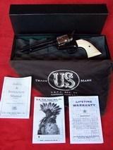 "USFA 12/22 SAA 5 1/2"" Revolver with Nickel Cylinder & White HR Grips"