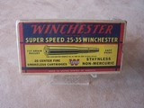 Winchester .25-35 Full Box of Collector Ammo. Early Box in Excellent Condition - 1 of 3