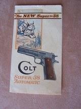colt super automatic pre war (1930's) color advertising brochure (rare)