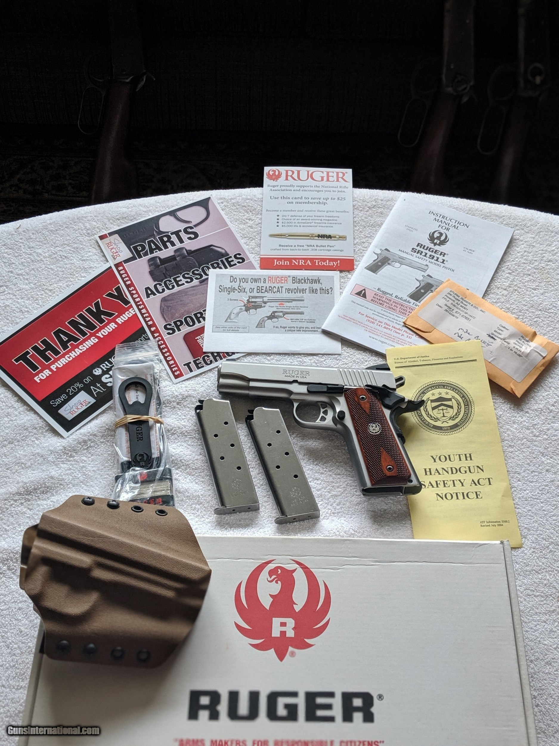 Ruger SR1911 Like NIB with Factory Box, Manuals, Pouch