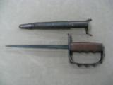 USGI WWI KNUCKLE TRENCH KNIFE W/SCABBARD - ORIGINAL - - 1 of 2