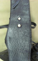 Right hand Black Fast Draw Tooled Leather Holster Rig for .44/.45 Caliber with 38 Inch Belt - 4 of 6
