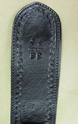 Right hand Black Fast Draw Tooled Leather Holster Rig for .44/.45 Caliber with 38 Inch Belt - 3 of 6