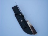 """RANDALL MODEL # 4-7"""" BIG GAME AND SKINNER SELECTED SAMBAR STAG ANTLER HANDLE SINGLE BRASS GUARD BLACK LEATHER SCABBARD BRASS NAME PLATE 1991 - 7 of 8"""