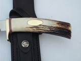 """RANDALL MODEL # 4-7"""" BIG GAME AND SKINNER SELECTED SAMBAR STAG ANTLER HANDLE SINGLE BRASS GUARD BLACK LEATHER SCABBARD BRASS NAME PLATE 1991 - 5 of 8"""