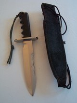 "RANDALL MODEL # 14 ATTACK -7 1/2"" SEPARATE "" S"" BLACK MICARTA SAWTEETH BLACK LEATHER SCABBARD 1977 PRISTINE A RARITY - 5 of 7"