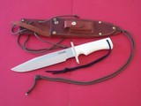 "RANDALL MODEL # 14 ATTACK 7-1/2"" RARE WHITE MICARTA HANDLE, WRIST THONG, GERMAN SILVER DOUBLE GUARD,RARE RIVETED SCABBARD FROM SULLIVAN PRISTINE"