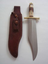 "RANDALL MODEL # 12-11"" SMITHSONIAN BOWIE BRASS HARDWARE, INDIA STAG HANDLE ORIGINAL H.H. HEISER BROWN LEATHER SCABBARD 1955 A RARITY IN TODAY' - 7 of 12"