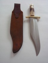 "RANDALL MODEL # 12-11"" SMITHSONIAN BOWIE BRASS HARDWARE, INDIA STAG HANDLE ORIGINAL H.H. HEISER BROWN LEATHER SCABBARD 1955 A RARITY IN TODAY' - 6 of 12"