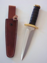JEAN TANAZACQ ONE-OF-A-KIND BIG GAME BOW HUNTER BLACK MICARTA HANDLE DEEP GROOVES BRASS HARDWARE A MIGHTY KNIFE -A SCARCITY - 1 of 13