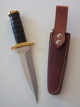 JEAN TANAZACQ ONE-OF-A-KIND BIG GAME BOW HUNTER BLACK MICARTA HANDLE DEEP GROOVES BRASS HARDWARE A MIGHTY KNIFE -A SCARCITY - 2 of 13
